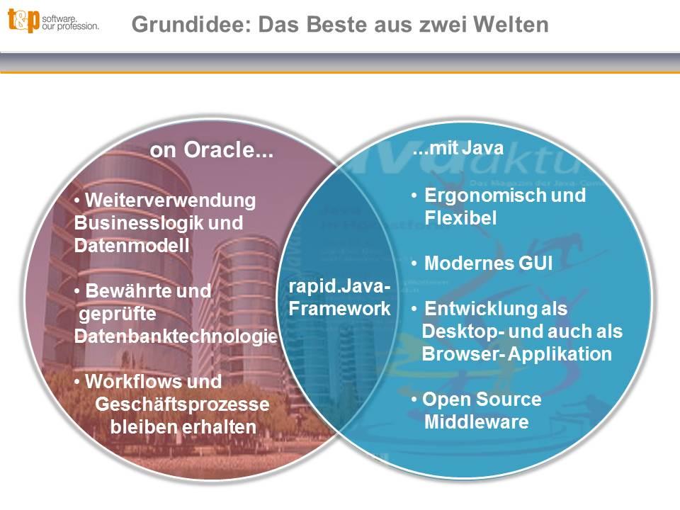 Grundidee: Das Beste aus den beiden Welten Oracle und Java