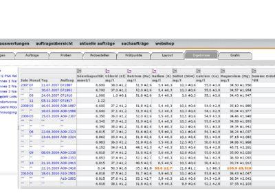 lisa.lims User Interface Tabelle
