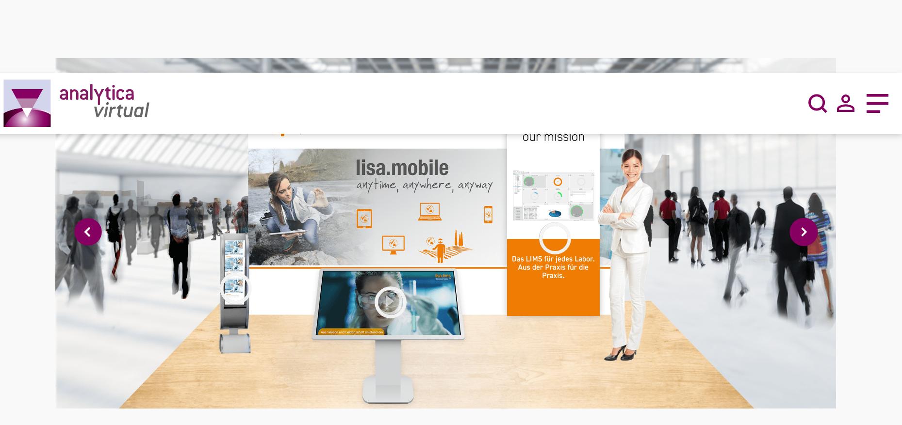 Virtueller lisa.lims Messestand bei der analytica 2020